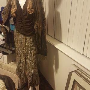 Leopard button up skirt
